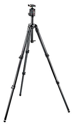 Manfrotto 057 Kit Grey, Carbon Fiber Tripod with B